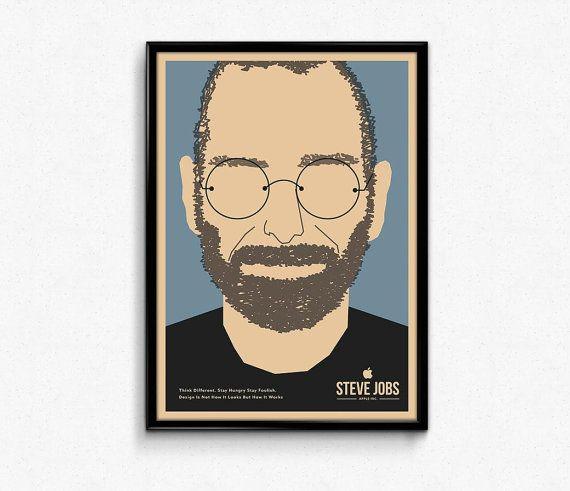 #minimalist  #Steve #Jobs  #steve  #jobs #stay #hungry  #stay #foolish  #design  #portrait #Apple  #iphone  #pixar  #waltdisney  #inspiration #disney #motivation #poster #art #walldecor #giftidea #illustration   Steve Jobs portrait minimalist Art retro Think by #Lotusdesinz
