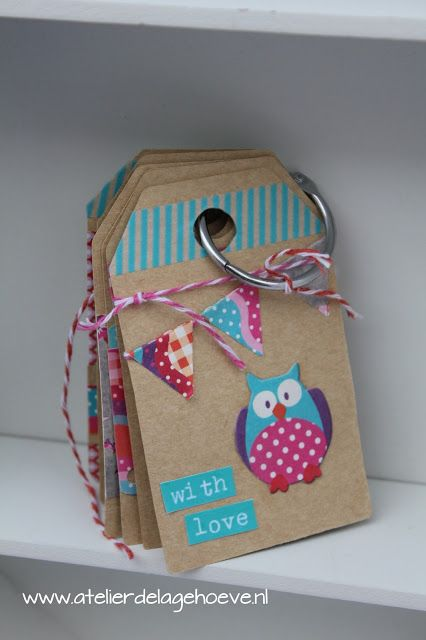 Cadeau-labels, gift tags 'Summer Owls' van Eline Pellinkhof