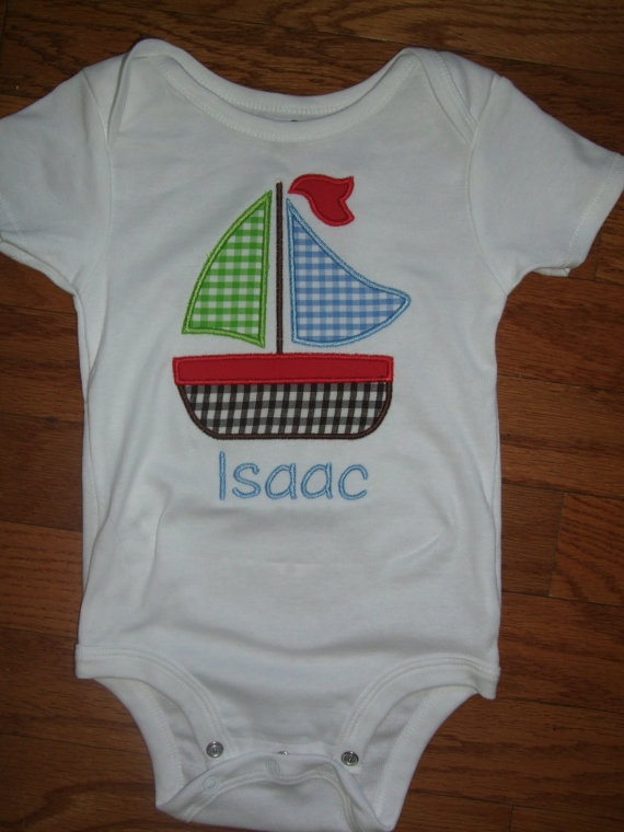 Sailboat Applique Boys monogrammed and embroidered onesie or t-shirt