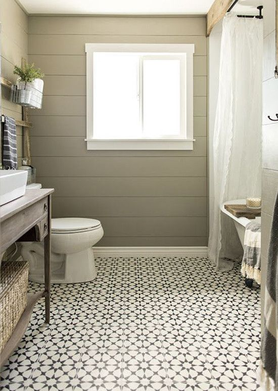 Love These Floors    Bathroom Floor Tile   Patterned Moroccan Inspired  Black And White Bathroom Floor Tile In A Redone Tone On Tone Guest Bath    Jenna Sue ...
