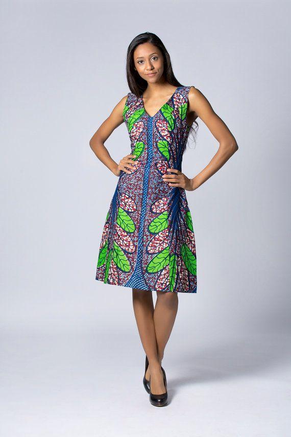 Robe verte, mi-longues cire robe imprimée, robe Batik, robe africaine, Floral robe, robe africaine, robe de coton, robe d'été