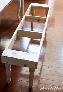 If another bench needs to be made...this looks the easiest.   Dear Lillie: Dining Room Bench Tutorial