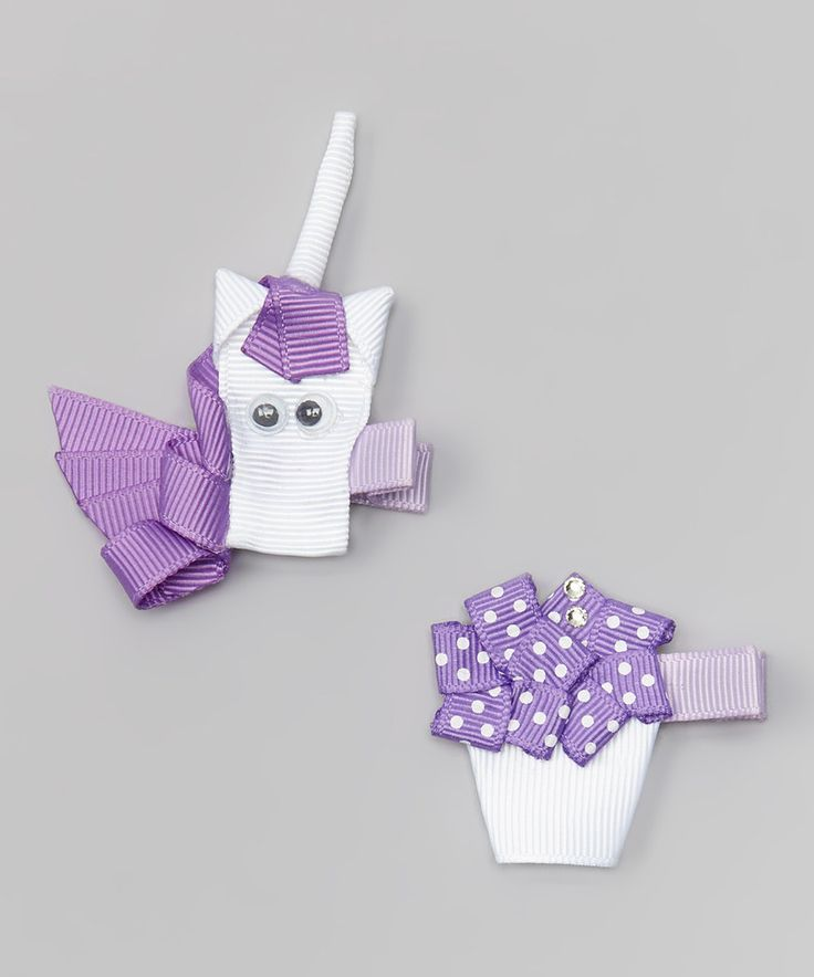 Look at this Bubbly Bows Purple Cupcake & Unicorn Clip - Set of Two on #zulily today!
