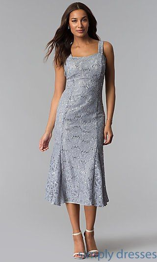 ed5fc710e9 Midi-Length Mother-of-the-Bride Sequin-Lace Dress in 2018
