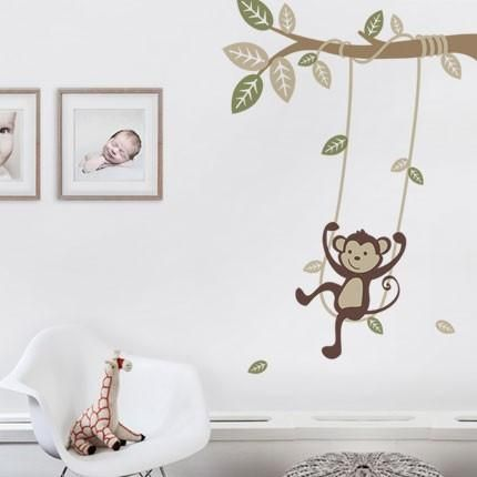 "A fun and playful monkey on a swing, multi-colored leaves, and a swooping vine! Perfect for any spot in your baby nursery or kids room! Size: Overall Size (approx): 40""w x 53""h What's Included: Branch"