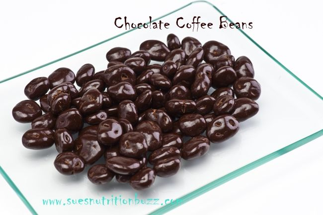 Chocolate Covered Coffee Beans- 1/2 c. roasted coffee beans (or espresso beans), 1 c. dark chocolate chips, wax paper--- Heat chocolate in saucepan until melted. Stir in coffee beans until coated. Lift gently with fork and place on wax paper. Let cool and freeze 4-5 hours. Remove with a knife and store in airtight container.