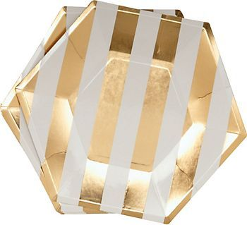 Add a touch of flair to your dinnerware with this set of hexagon paper party plates with thick gold stripes. Fun for a summer get together, causal wedding event, bridal shower and more.
