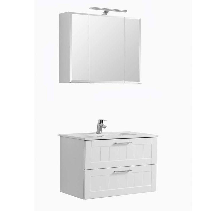 Badmöbel Badezimmer Set In Weiß Paneel Optik Landhaus Modern (2 Teilig)  Jetzt Bestellen
