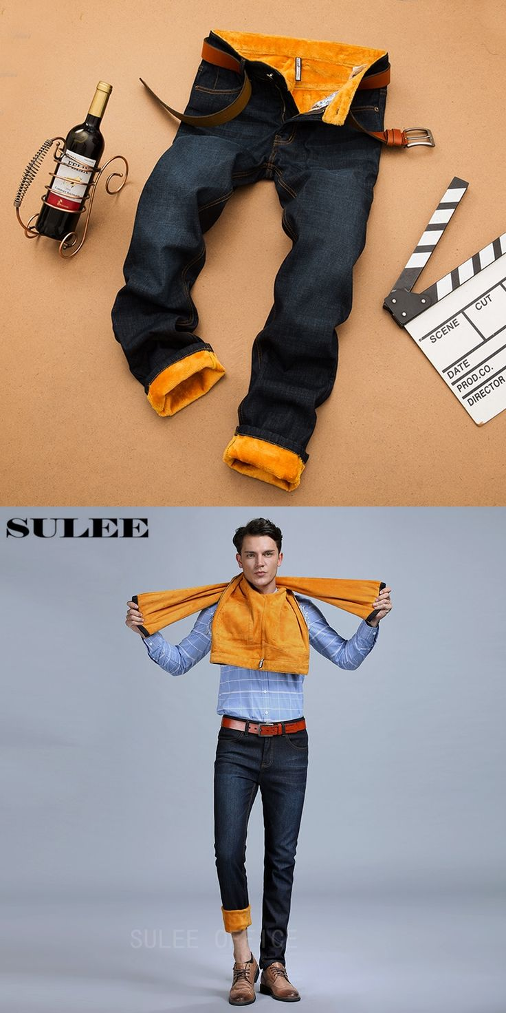 SULEE Brand 2017 Winter Warm Fleece Big And Tall Pantalon Hombre Men Jeans Slim Fit Long Jeans Men
