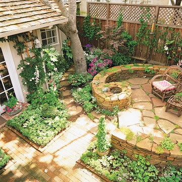 like the patio and plantings: Modern Gardens, Stones Wall, Little Gardens, Small Backyard, Firepit, Backyard Gardens, Outdoor Spaces, Patio Ideas, Fire Pit