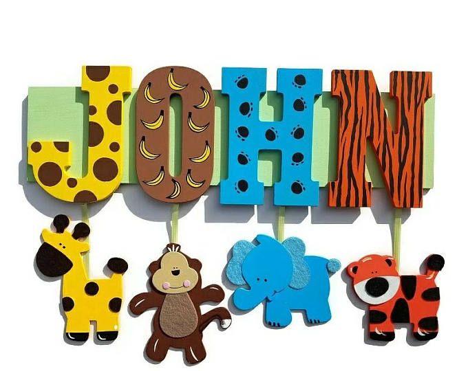 ¡Safari nombre cartel personalizado con el nombre de tu hijo!  placa de nombre, animales de zoológico, selva cartas, personalizadas, cualquier nombre, animal print