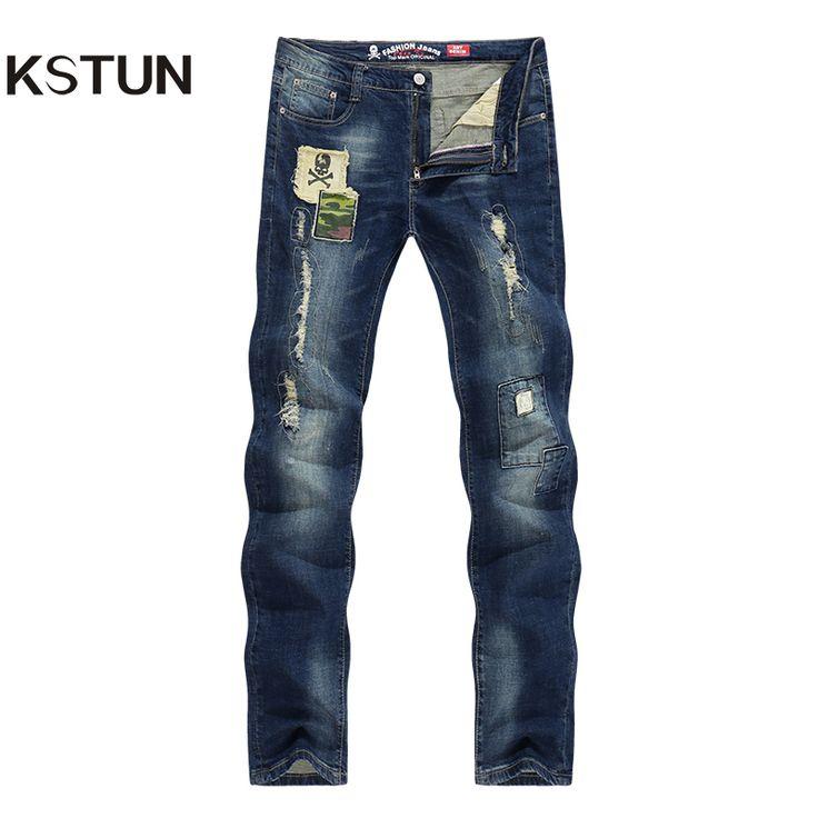 Men's Jeans Ripped Broken Man Vintage Printed Skull Retro Slim Skinny Casual Elastic Denim Men Boys Students Biker Jeans Homme #Affiliate