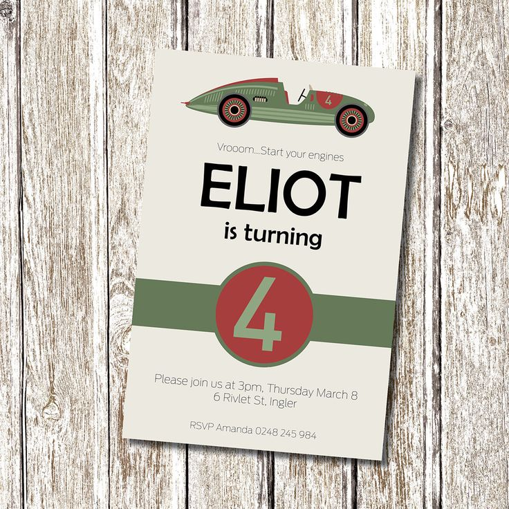Vintage Race Car Birthday Party Invitation - Printable and Personalised by deedubdesigns on Etsy https://www.etsy.com/listing/125796581/vintage-race-car-birthday-party