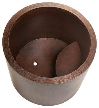 Japanese Style Soaking Copper Bath Tub - rustic - bathtubs - Lucido Luxe