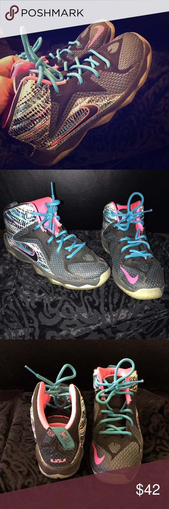 ✨LEBRON JAMES✨ Basketball sneaker, bright multi colored, GREAT CONDITION. These were LOVED by my daughter! 😍 Nike Shoes Sneakers