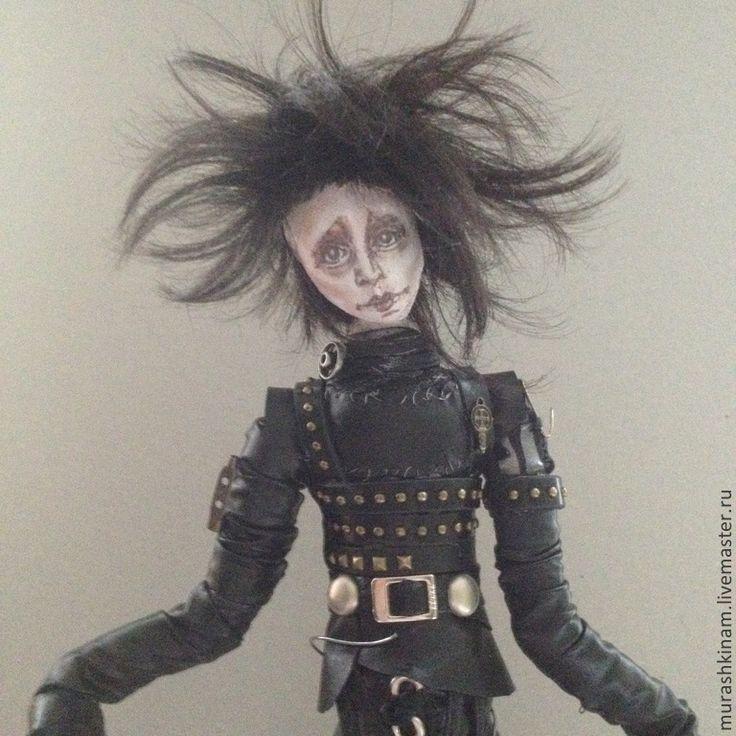 Купить Эдвард руки-ножницы. Интерьерная текстильная кукла. - черный, подарок, кукла