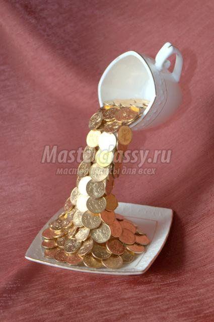 Кружка водопад из монет пошаговое фото