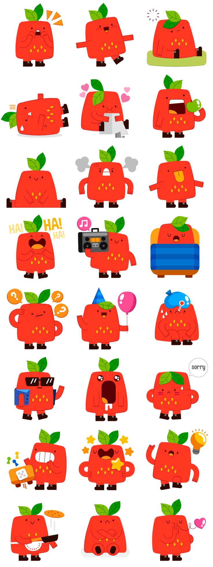 Strawberry buddy - Social Messenger app stickers on Behance