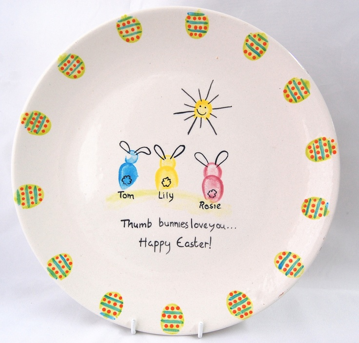 Fingerprint painting with your children.  A lovely keepsake idea for Easter using one of our plates.  See full selection of  pottery blanks and more online. countrylovecrafts.com