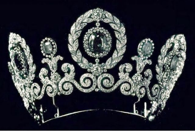 Sapphire and diamond tiara given to Grand Duchess Maria Pavlovna by her father, Grand Duke Paul Alexandrovich, as part of a magnificent Cartier parure on the occasion of her marriage to Prince Wilhelm of Sweden in 1908. Fate unknown, probably sold by the grand duchess to support herself in exile.