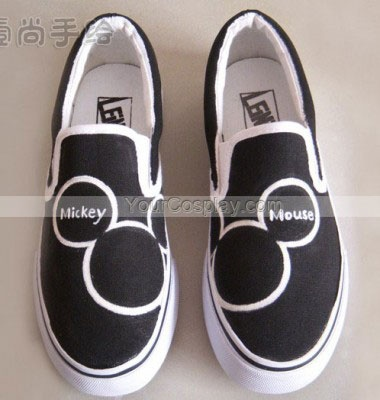 Low Mickey Mouse Black Hand Painted Canvas Women/Men/Kids Shoes, Mickey Mouse Shoes, Cosplay Hand Drawing Shoes