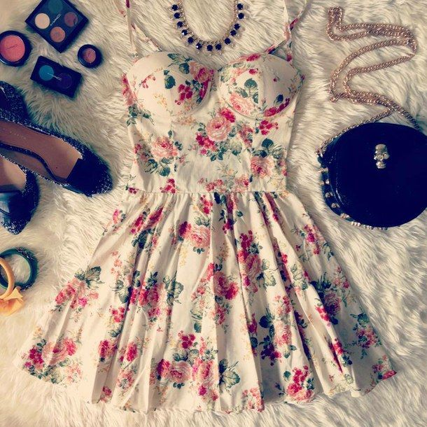 Bustier Dress Fashion Vintage Floral Girly Sexy Tumblr Dress 01 Pinterest Sexy