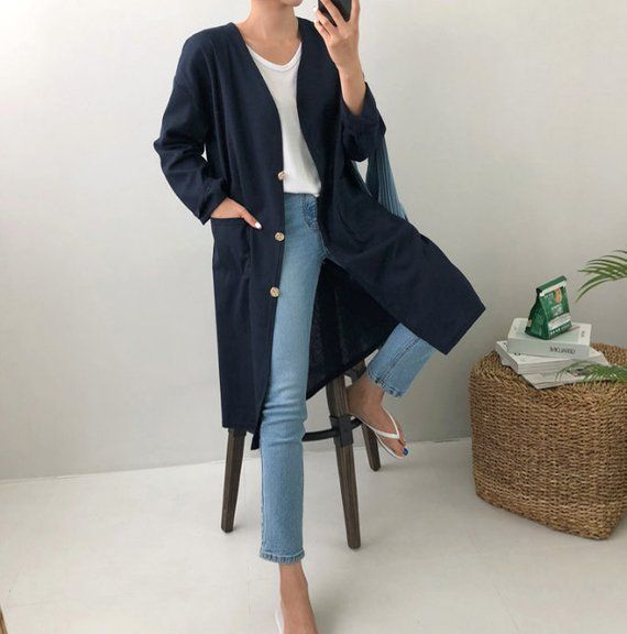 loose long cardigan /  linen loose jacket with pockets / linen long robe / plus size cardigan / line 5