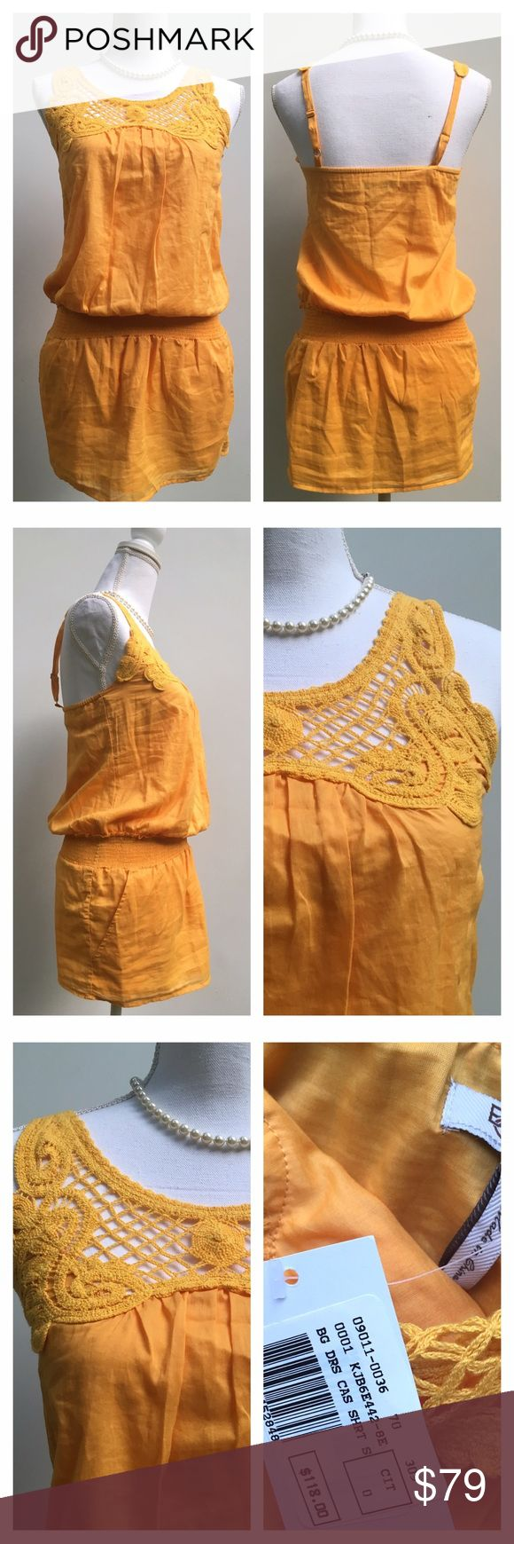 BCBGENERATION Yellow Crochet Bib Tunic Tank NWT BCBGENERATION Yellow Crochet Bib Tunic Tank. Can be worn as a very short dress or a longer cinched waist tank. Beautiful crochet bin, adjustable spaghetti straps. Lovely Goldenrod Yellow. Lightweight cotton material. Pockets! New With Tags! BCBGeneration Tops Tank Tops