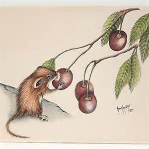 Colored Pencil Drawing Whimsical Mouse Cherries Signed Ann Margaret