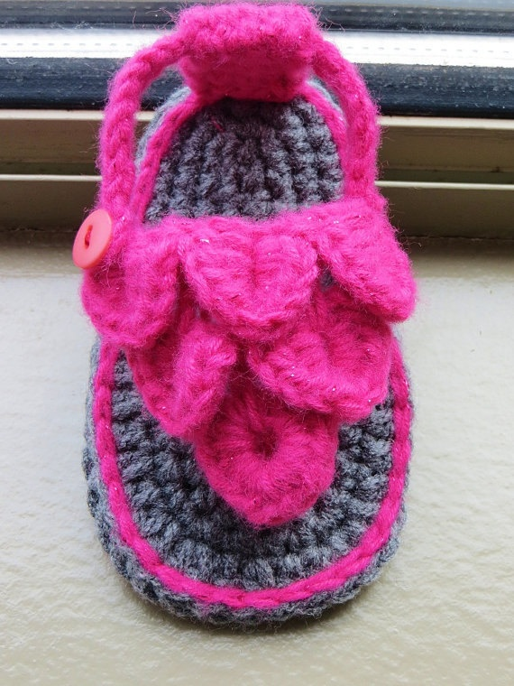 Crochet Baby Sandals-girl or boy flip-flops-baby shoes via Etsy
