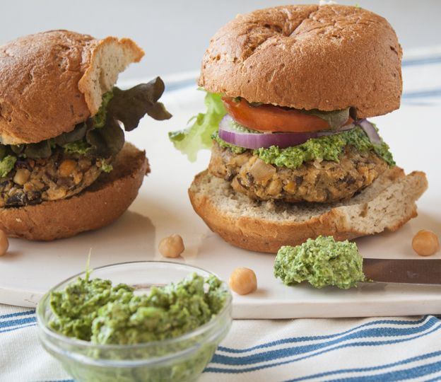 Chickpea Mushroom Burgers with Mustard Green Pesto