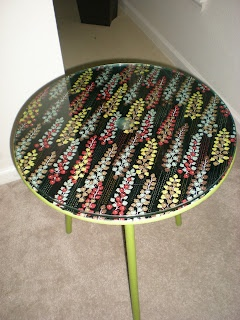 Mod Podge wood table with fabric