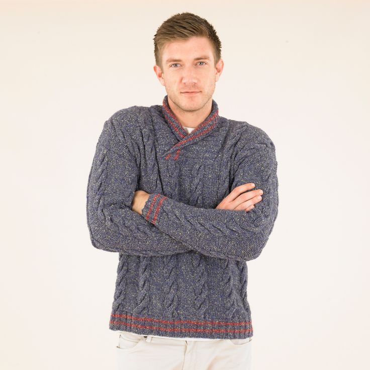 Cable Manners - the ever-trusty cabled sweater knitted in Indigo and Oxblood from the Sublime Luxurious Aran Tweed collection. Wear all year round.