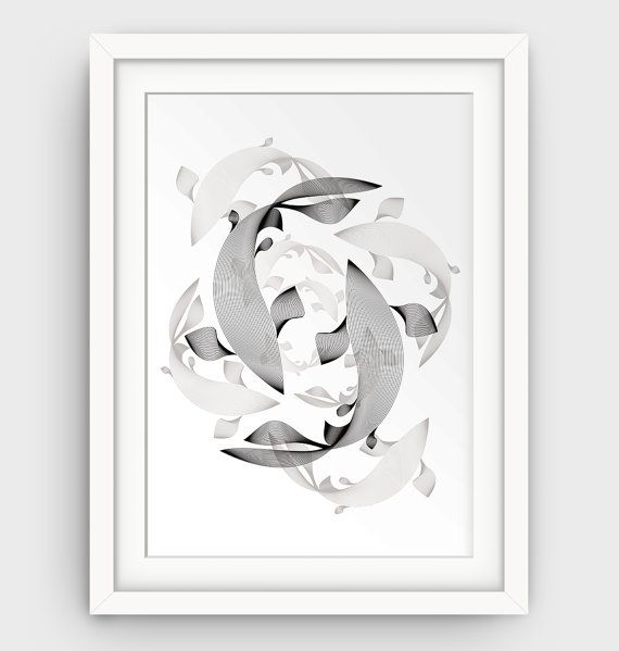 144 best abstract fish art images on pinterest fish art for Koi fish art print