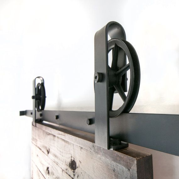 $210 Vintage-look Industrial Spoked Sliding Barn Door Hardware by PeonyRow