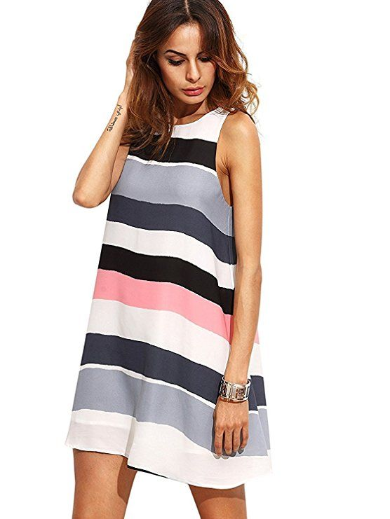 d6f02bcd017 Floerns Women s Loose Floral Tank Dress Summer Sleeveless Dresses  Multicolor XS