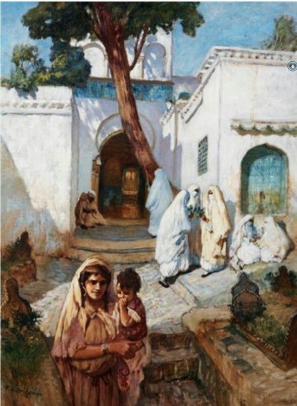 Algérie - Peintre American Frederick Arthur Bridgman (1847-1928) , Huile sur toile , Titre : Femmes aux abords de la mosquée Sidi Abderrahman à Alger