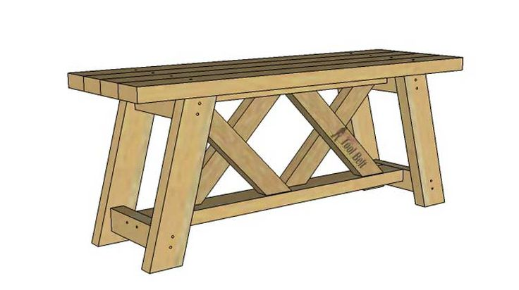 Free plans to build an easy double X bench from 2x4's. This bench looks so great on the front porch or in the garden, finish with stain or add chippy paint.