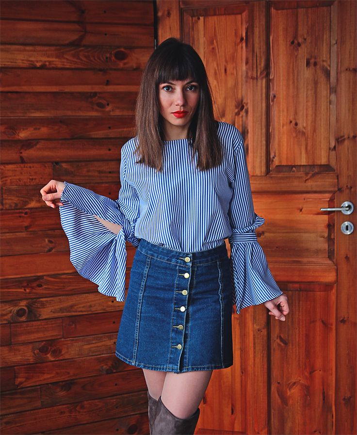 striped bell sleeve blouse and button front denim skirt