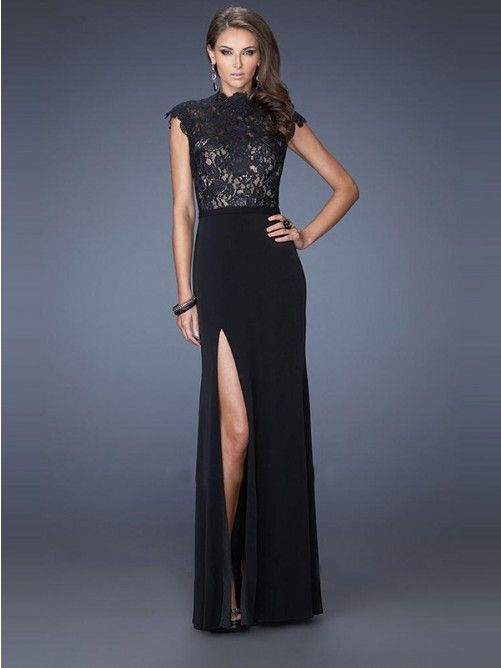 Sheath/Column Sleeveless Chiffon High Neck Floor-Length Dresses