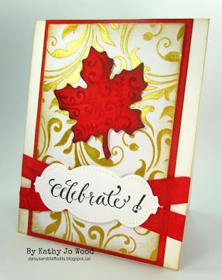 Canada Day card using Quietfire stamp, Spellbinders dies, Tim Holtz Stencil, Imagine Crafts Metallic Medium and Ranger Distress Inks