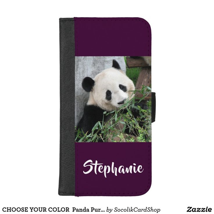 CHOOSE YOUR COLOR Panda Purple Default Custom iPhone 8/7 Plus Wallet Case CHOOSE YOUR COLOR - click Customize and select your background color (hint - lots of selections with the eyedropper) - or keep our default elegant dark purple. You be the designer!!! This modern wallet case for the iPhone 7 Plus or iPhone 8 Plus is your color with large white text and our original photo of a giant panda. Simple, elegant, and classy! Easy to personalize. All Rights Reserved © 2017 A&M Socolik.