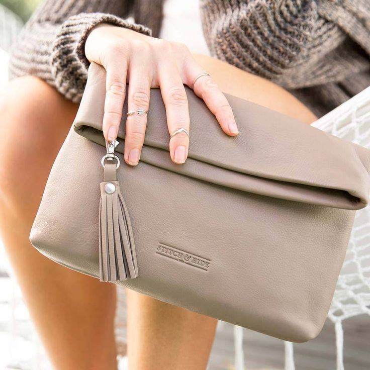 Stitch & Hide | Lily Leather Clutch in Dusty Linen