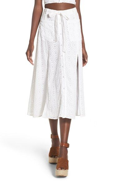Free shipping and returns on Tularosa 'Poppy' Embroidered Eyelet Skirt at Nordstrom.com. Tonal embroidered eyelet enhances the charming vintage appeal of a lightweight cotton skirt accented with roomy patch pockets and tall slits easing the hem.