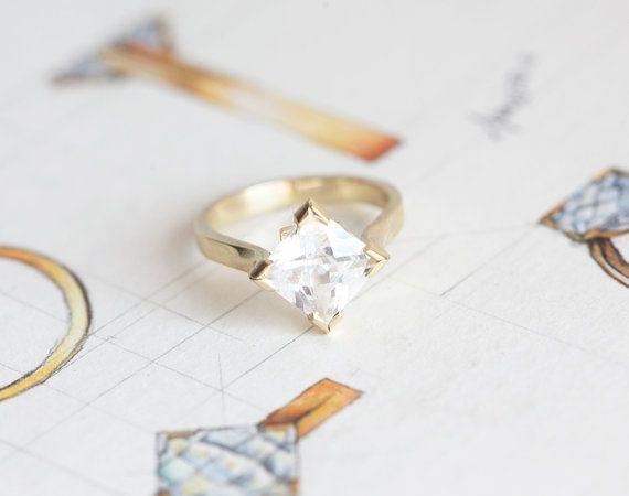 Princess Moissanite Ring Modern Moissanite Ring by capucinne