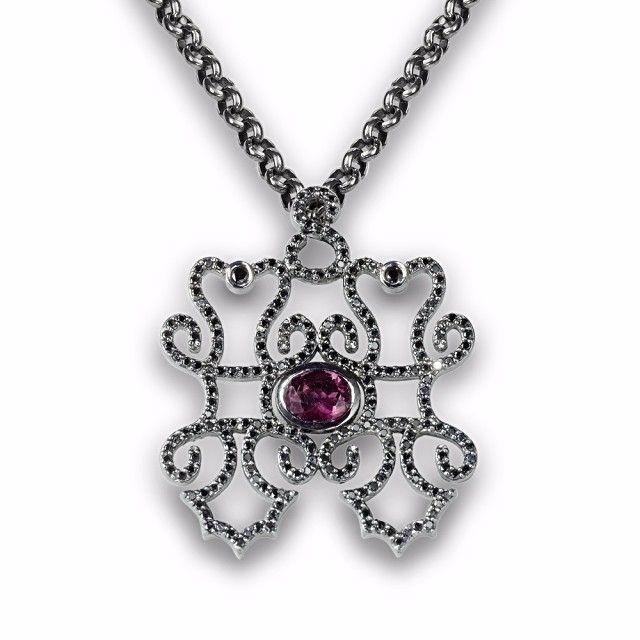 Jane Berg China Girl black rhodium-plated 14kt white gold pendant with black diamonds and rhodelite