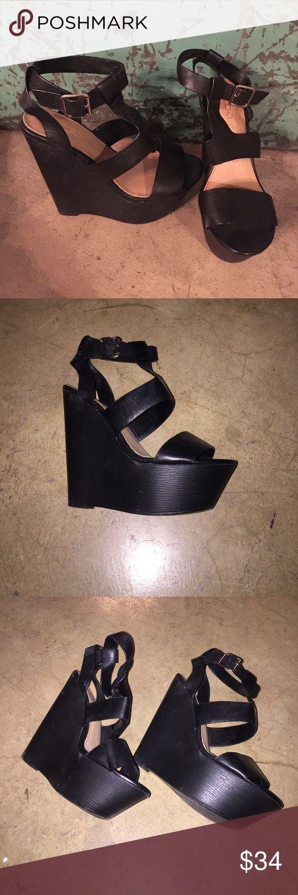 """Also- black platform wedges 🍍 Super cute black platform wedges. Worn once. 2"""" platform 5.5"""" heel. Size 8. Aldo Shoes Platforms"""