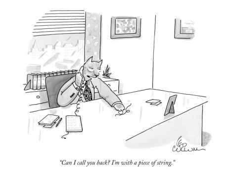 """Can I call you back? I'm with a piece of string.""     - New Yorker Cartoon Poster Print by Leo Cullum at condenaststore.com"