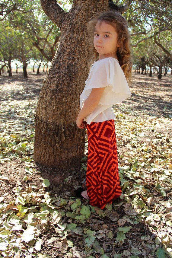 Toddler Girl Maxi Skirt Long skirt Red Aztec Maxi by WeeMaggies, $15.00