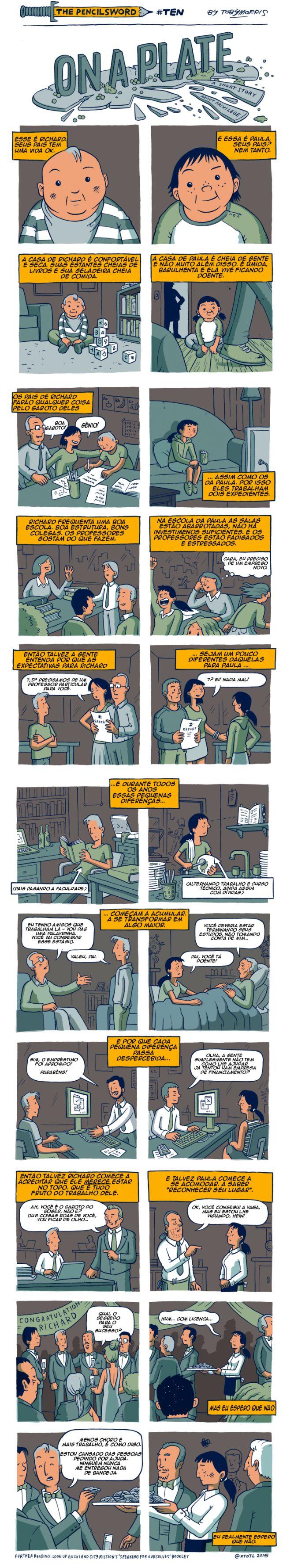 Uma reflexão sobre privilégios e oportunidades #quadrinhos #tirinha